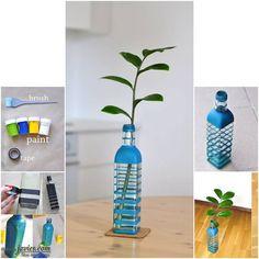 Florero con botella de vidrio