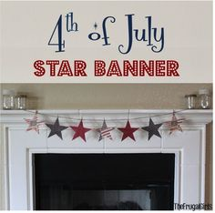 of July Star Banner! ~ add some patriotic flair to your summer decor with these sweet and simple Americana banner! Patriotic Crafts, Patriotic Party, July Crafts, Holiday Crafts, Holiday Fun, Holiday Ideas, Americana Crafts, Fourth Of July Decor, 4th Of July Decorations