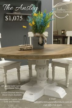 The Ansley Is A Beautiful 60 Round Table This Can Be Customized With Southern Farmhousedining