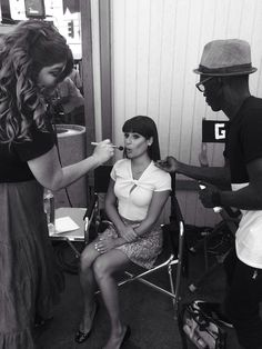 Lea Michele on set on the first day of shooting Glee Season 6