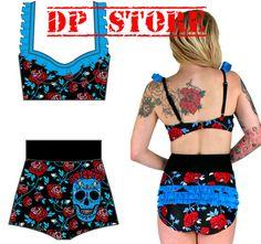 TOO Fast Swimsuit Swim Suit Tattoo Pinup 60'S Goth Gothic Skull Bikini Roses S   eBay