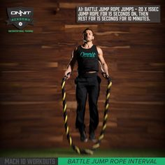 Battle Rope Jump Ropes are no joke… get ready to find out why with this killer 10-minute workout set! Interval training is deceptively difficult; the first few rounds will build your confidence, and then shatter it as you go through 20 rounds of punishment.