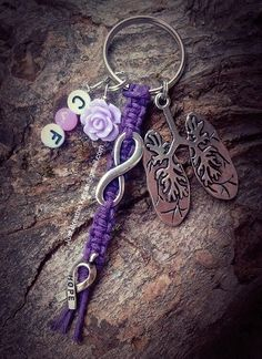 Always searching for a cure and never giving up hope. Cystic Fibrosis Awareness keychain with infinity charm, hope ribbon charm & CF beads Color pictured is Dark Purple Awareness Ribbons, Autism Awareness, Cystic Fibrosis Quotes, Just Breathe, Breathe Easy, Respiratory Therapy, Cystitis, Infinity Charm, Brain Tumor