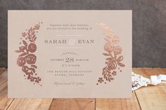 Sun Bleached Florals Foil-Pressed Wedding Invitations by Jennifer Wick at minted.com