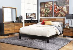 picture of Cambria Heights King Honey Platform 5Pc Bedroom  from King Bedroom Sets Furniture