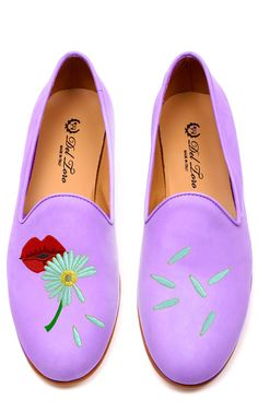 This pair of Del Toro's which is Exclusive to Moda Operandi features a Smoldering Pair of Lips blowing a Daisy on Lavender Nubuck. Nubuck UpperLeather SoleStacked Wooden HeelMade in Italy Please note: This item is returnable for credit or full refund. Loafer Shoes, Loafers, Flats, Pretty Shoes, Cute Shoes, Lavender Shoes, Smoking Slippers, Shoe Gallery, Purple Shoes