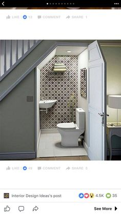Home Decor Decoracion Unter der Treppe Toilette Unter der Treppe Toilette.Home Decor Decoracion Unter der Treppe Toilette Unter der Treppe Toilette Small Toilet Room, Small Bathroom, Toilet Wall, Bathroom Remodel Small, Master Bathroom, Toilet Tiles, Tub Remodel, Bathroom Toilets, Modern Bathroom