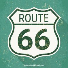 ルート66の道路標識 無料ベクター
