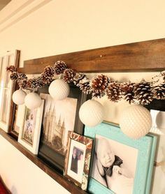 {If you make a little effort to collect your cones it is only your time and creativity.. Use ornimant a your kids or GKids give you..mb}Simple Pine Cone & Ornament DIY Garland | AllFreeHolidayCrafts.com