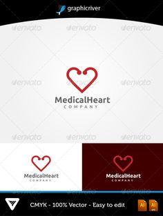 MedicalHeart Logo #GraphicRiver Item Details: • Color CMYK • Fully editable AI and EPS files • Easy editable color and text • Free Font Ubuntu • Two Color Variations For additional information please contact me The font can be Downloaded at ubuntu for Free: font.ubuntu Created: 23September13 GraphicsFilesIncluded: VectorEPS #AIIllustrator Layered: Yes MinimumAdobeCSVersion: CS Resolution: Resizable Tags: care #clean #clinic #doctor #ear #health #healthy #heart #hearts #hospital #logo…