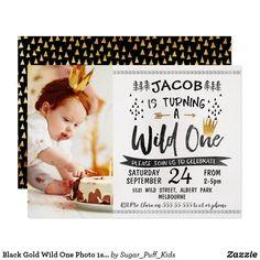 1st Birthday Invitations Boy, Birthday Thank You Cards, Photo Thank You Cards, Boy First Birthday, First Birthday Parties, First Birthdays, Gold Birthday, Happy Birthday, Disney Birthday