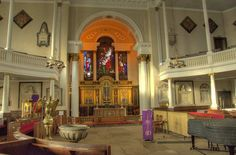 Inside St Chad's Church in Shrewsbury, Shropshire. The only circular Georgean Grade 1 Listed church in England