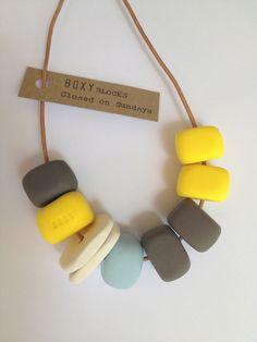 CLOSED ON SUNDAYS Handmade Chunky Bead Necklace - Yellow, Blue and Grey. $35.00, via Etsy.