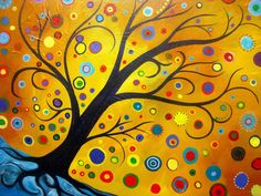 How to paint a Abstract Bohemian Tree in Acrylic paint for Beginners
