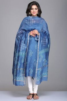 Blue Unstitched Chanderi Suit With Paisley Motif Hand Block Print And Gold Zari Border