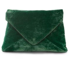 Dries Van Noten ($725) ❤ liked on Polyvore featuring bags, handbags, clutches, green clutches, velvet purse, green purse, velvet clutches and zipper purse