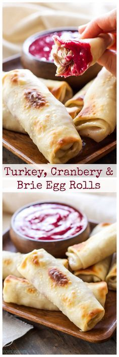 Thanksgiving Turkey Cranberry and Brie Egg Rolls.Baked egg rolls stuffed with leftover Thanksgiving turkey, cranberry sauce and a slice of brie cheese! Egg Roll Recipes, Fall Recipes, Holiday Recipes, Pumpkin Recipes, Yummy Recipes, Baked Brie Recipes, Tapas, Egg Rolls, Cranberry Sauce