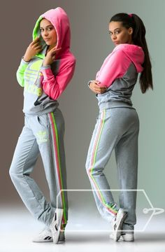 #hood #tracksuit Stylish womens grey hooded zip lime and pink tracksuit.