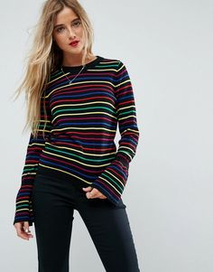 ba23ab15a14 ASOS Sweater with Rainbow Stripe and Fluted Sleeve - Multi Rainbow Sweater