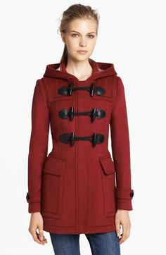 Burberry Brit 'Blackwell' Wool Duffle Coat available at #Nordstrom #cream
