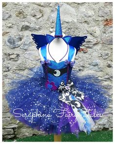 Luna Unicorn Tutu Dress.Lined MLP Moon, Blue, Black & Purple Moon Dress - Optional Unicorn Horn and Matching Wings. By Seraphina Fairy Tales by SeraphinaFairyTales on Etsy https://www.etsy.com/listing/271882720/luna-unicorn-tutu-dresslined-mlp-moon