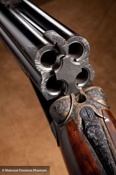 Lancaster, who manufactured four barrel rifles, pistols, and shotguns, produced this .440 bore or 28 gauge piece offering double the firepower of a standard side-by-side.  Charles Lancaster started as a barrel maker in London's Drury Lane in 1811, producing barrels for Joseph Manton and others.  By 1826, his firm had moved to 151 New Bond Street and had received a royal appointment to Albert the Prince Consort.