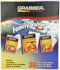 Grabber Warmers Family Value Pack Multi Warmer Box 10 Pair Hand 10 Pair Toe 10 Pair Adhesive Body Warmers 30Count Athletics Exercise Workout Sport Fitness -- Want to know more, click on the image.-It is an affiliate link to Amazon. #CampingSafetyandSurvivalEquipments