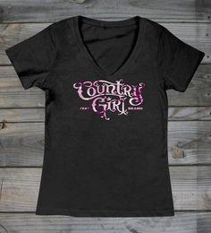 Country Girl Store - Women's Country Girl ® Camo Logo Sheer V-Neck tee, $24.95