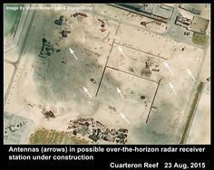 First report of an antenna array, probably high-frequency over-the-horizon radar, at Cuarteron Reef in the Spratlys. Newly built by China in South China Sea. Images and article by Victor Robert Lee.
