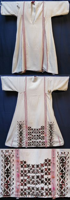Front and rear of a 'göynek' (underdress for women) with (wool on cotton) embroidery on the rear only.  Part of a festive costume.  From the rural southern part of the Bursa province, mid-20th century.  Ethnic group: Yörük.  (Inv.nr. gnk065 - Kavak Costume Collection - Antwerpen/Belgium).
