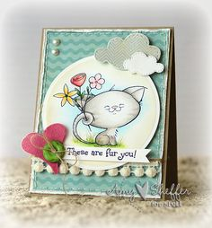 Amazing design from @Amy Sheffer of Pickled Paper Designs using Cutie Cat from Lil' Inker Designs' 2 Cute Ink line!