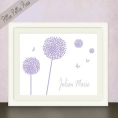 Baby shower gift, Dandelions and Butterflies in purple and grey, Personalized Custom Name Art for a little girls room or nursery, size 8x10. $20.00, via Etsy.