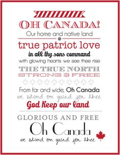 Canada Day Wall Art - I'd prefer we move to singing the line 'in all of us command'. But Canada is a great & caring nation. We must be thankful for it & give all we can to it & its many people. I Am Canadian, Canadian History, Canadian Things, Canadian Flags, Canadian Dishes, Canadian Maple, Canada Day 150, Happy Canada Day, Canada Day Long Weekend