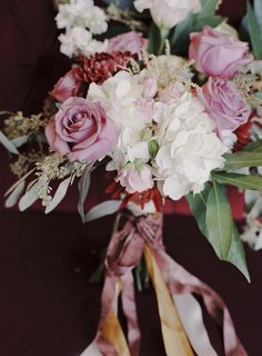 Red and Berry Bouquet | Loblee Photography | Modern Floral Print and Gold Sequin Bridal Portraits