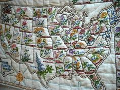 Lovely 21x14 Embroidery Sampler Vtg America Embroidered United States Floral Map   eBay