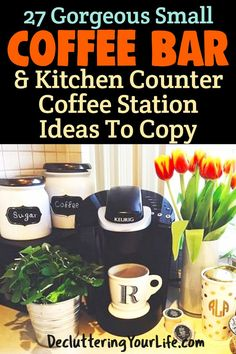 Ways To Set Up a Small Coffee Area in Your Kitchen Coffee Bars In Kitchen, Coffee Bar Home, Coffee Area, Small Apartment Living, Diy Bar, Best Coffee, Keurig, Diy Kitchen, Photos
