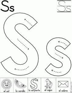 Magnifico cuaderno para repasar el abecedario - Imagenes Educativas Preschool Writing, Preschool Letters, Preschool Printables, Learning Letters, Preschool Worksheets, Preschool Learning, Preschool Activities, Teaching, Letter S Activities