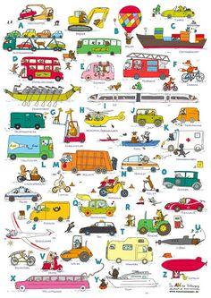 Drucke & Plakate - Das ABC der Fahrzeuge (DINA 1) - ein Designerstück von Dunja-Schnabel bei DaWanda