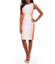 Calvin Klein Colorblock Sleeveless Sheath Dress #Dillards