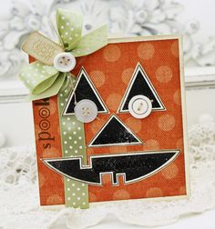 Darling Orange & Black Jack O'Lantern Card...with green bow & buttons.