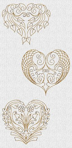 Filigree Valentines Hearts Redwork Machine Embroidery Designs.