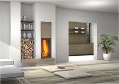MA266SL beautiful compact built in fireplace with a rise and fall glass door. Perfect for areas needing a powerful fireplace, with limited wall space to install it