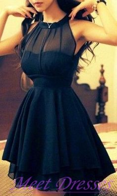 Cute Navy Blue Short Prom Dress High Neckline Chiffon Women Casual Dark Navy Party Homeocoming Gown For Teens Juniors - Thumbnail 2