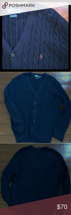 Navy cotton cardigan by Polo by Ralph Lauren This cable knit cardigan is 100% cotton, men's medium.  Great pre-loved condition, even the spare button is still there. Polo by Ralph Lauren Sweaters Cardigan