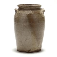 NC Pottery Jar, stoneware, five gallon size, applied ear handled, rounded rim, rolled rim, hand inscribed capacity mark.