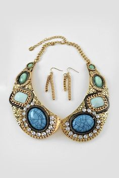 Turquoise Collar Statement Necklace on Emma Stine Limited