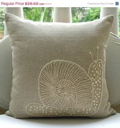 Beige Linen Pillow Mother Of Pearl Embroidered Snail Pearls Bedroom Ho