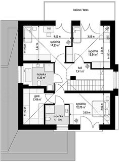 Projekt domu Oszust 2 136,4 m2 - koszt budowy 210 tys. zł - EXTRADOM Micro House, My House, Morden House, One Storey House, Dream House Plans, Exterior Design, Floor Plans, How To Plan, Projects