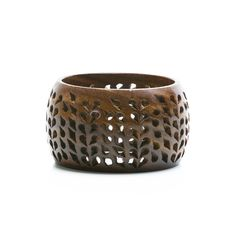 """Maize Bangle    This lovely bangle marries an exotic and crafty vibe with a city-chic spirit. Intricately etched and laser cut wood are minimalist beauty at its finest.  - Wood  - 1 1/4"""" inch wide    https://wtfoxtrot.kitsylane.com/index.php?file=pick_detail=1259"""