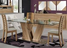 wooden dining table designs with glass top - Google Search
